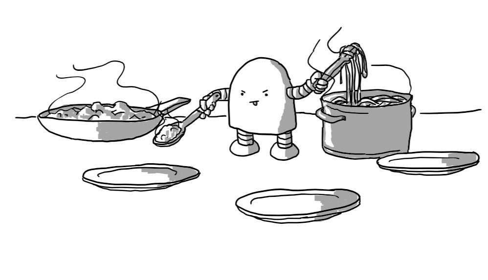 A round-topped robot standing between a pan of bolognese and a pot of spaghetti, ladelling the former towards one of three plates set out before it while lifting the latter in a pair of pincers. The robot sports an expression of intense concentration.