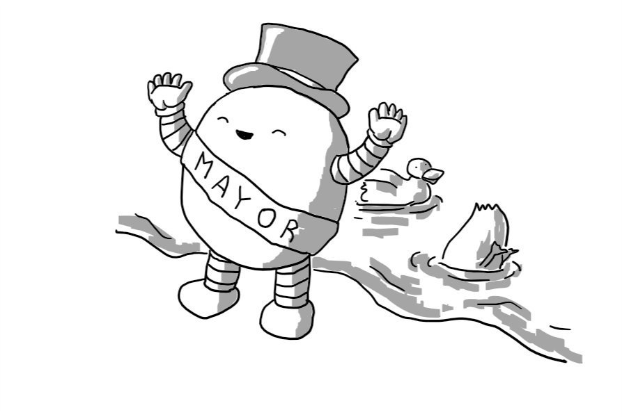 A round robot with banded arms and legs, wearing a sash that reads 'MAYOR' and a shiny top hat. It's waving with both hands and smiling with its eyes closed beside a body of water which contains two ducks.