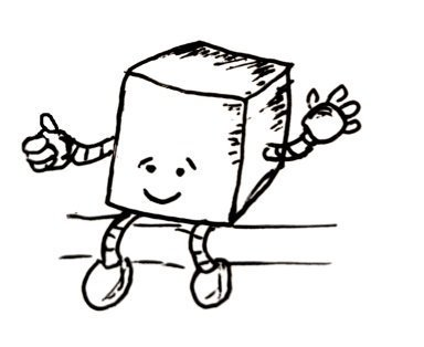 A cube shaped bot with arms and legs is waving and giving a thumbs up. Has a slightly awkward smile