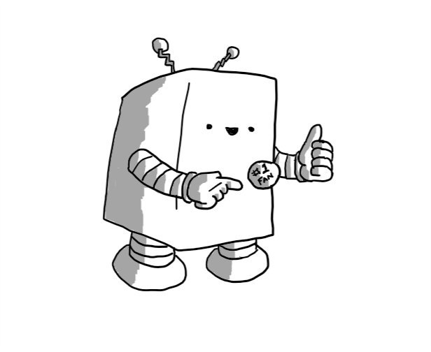 """A cuboid robot with two zig-zag antennae and banded arms and legs. It's pointing and giving a thumbs up and has a little round badge on its chest that reads """"#1 FAN""""."""
