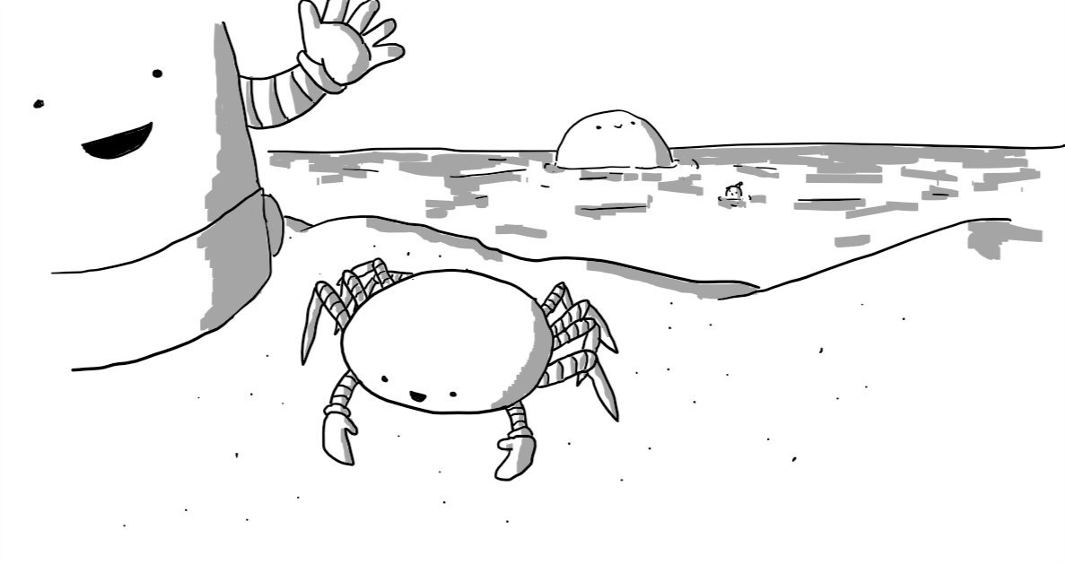 A robot shaped like a flattened spheroid, with ten legs and a pair of little arms ending in claws-cum-mittens. It has a little smiley face low on its carapace. It's on a stretch of beach and beside it looms Sandcastlebot while, in the background out to sea are Bobbot and Bigbot, both partially submerged.