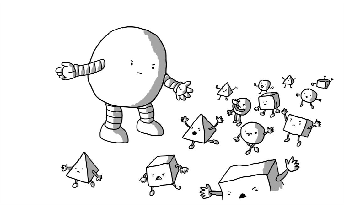 A round robot with banded arms and legs gestures to move along a column of Mischiefbots - smaller robots in the form of cubes, spheres or pyramids - that are grumbling and grimacing as they pass. A couple are shouting at Herdbot, one is making a rude face, one is throwing a tantrum, lying face-down and banging its hands and feet on the ground. Herdbot looks unimpressed with their antics.