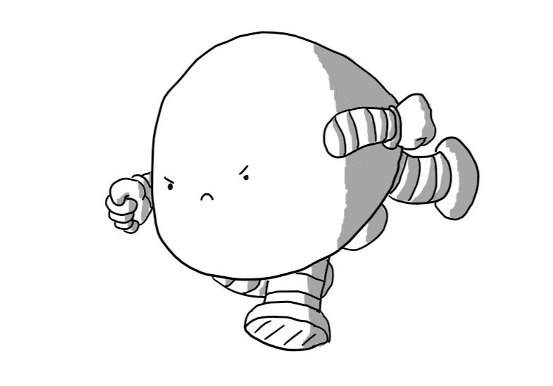 A determined looking, dome-shaped robot with four stumpy legs and two arms. It is pitched forward, in full gallop, its fists clenched.