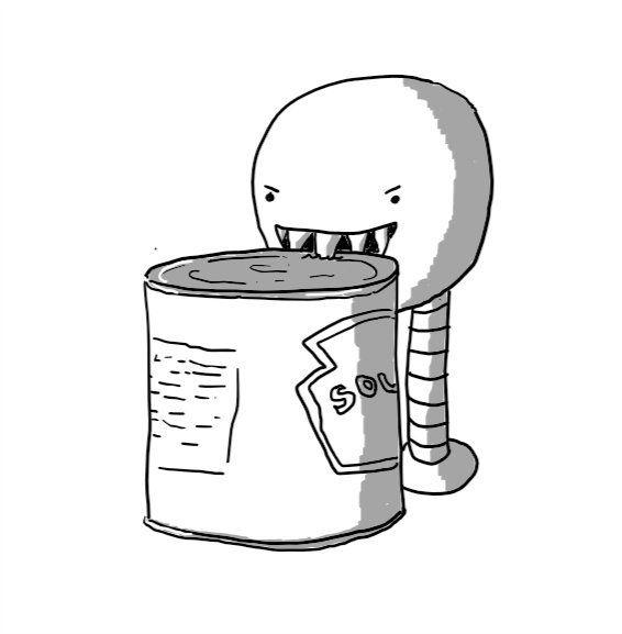A round robot on two tall, banded legs. It has a wide, fang-filled mouth and is biting into the lid of a soup can with obvious relish.