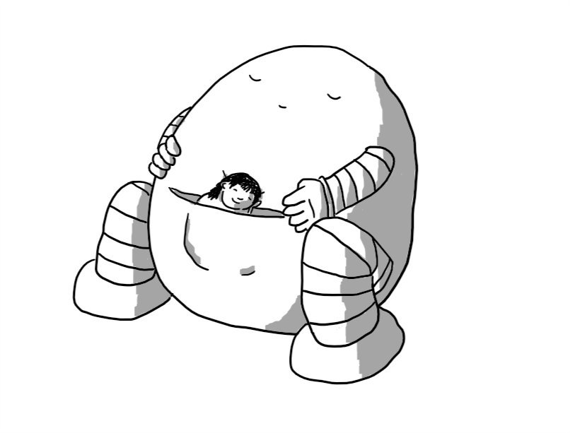 A large ovoid robot with banded arms and legs, sitting on the ground with its eyes shut, apparently asleep. It has a pocket built into its front in which a person is nestled, also asleep, with a contented smile on their face.
