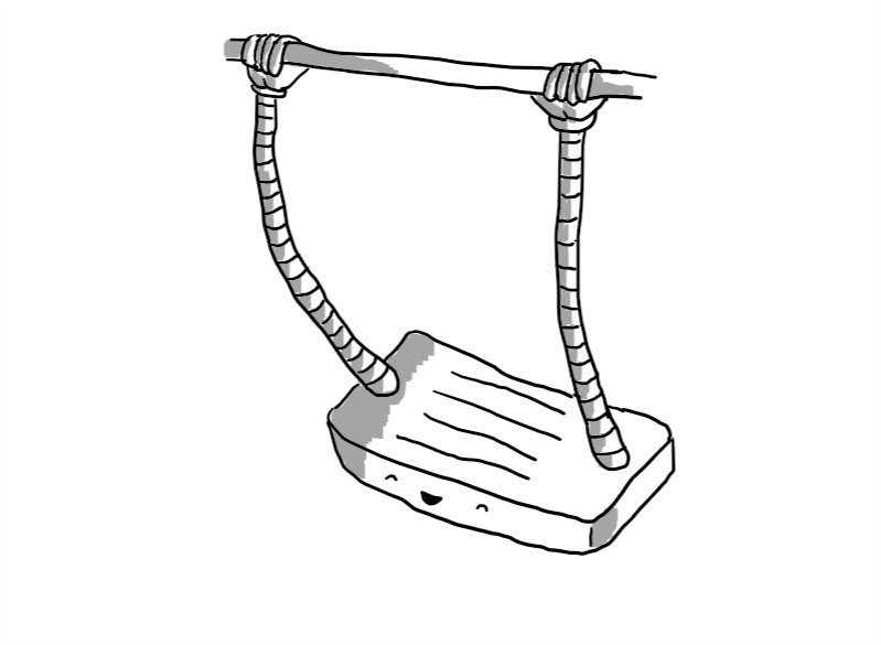 A robot in the form of a flat swing with a beaming face on the front. It has two arms emerging from either end of its upper surface, ending in hands that are gripping a horizontal beam of some kind that is above it.