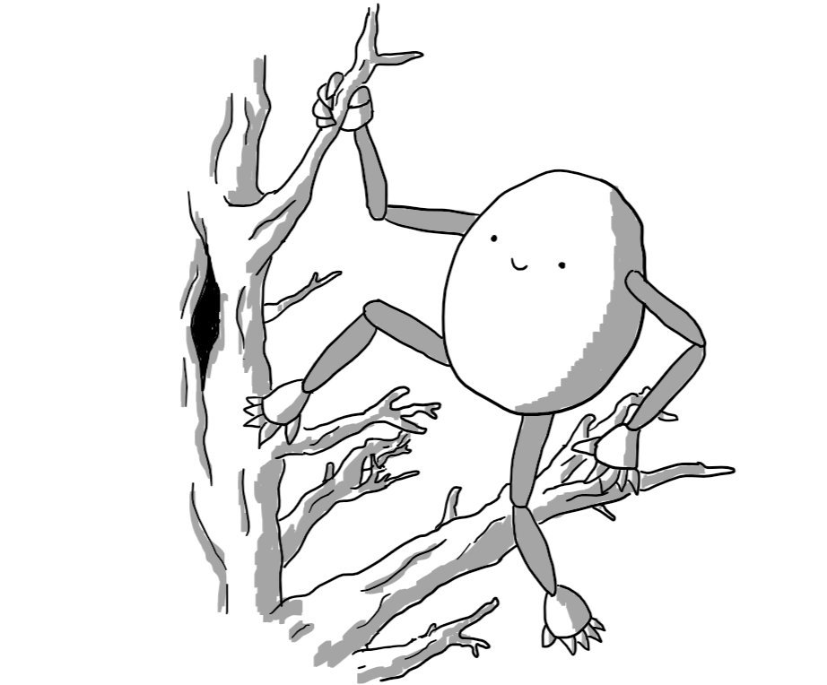An ovoid robot with long, jointed limbs perched on the branch of a tree. Its feet are an additional pair of hands.