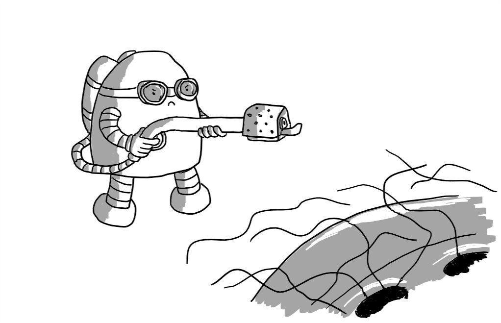 A round-topped robot wielding a flamethrower and wearing goggles, approaching a shower plughole covered with hair with a determined expression on its face.