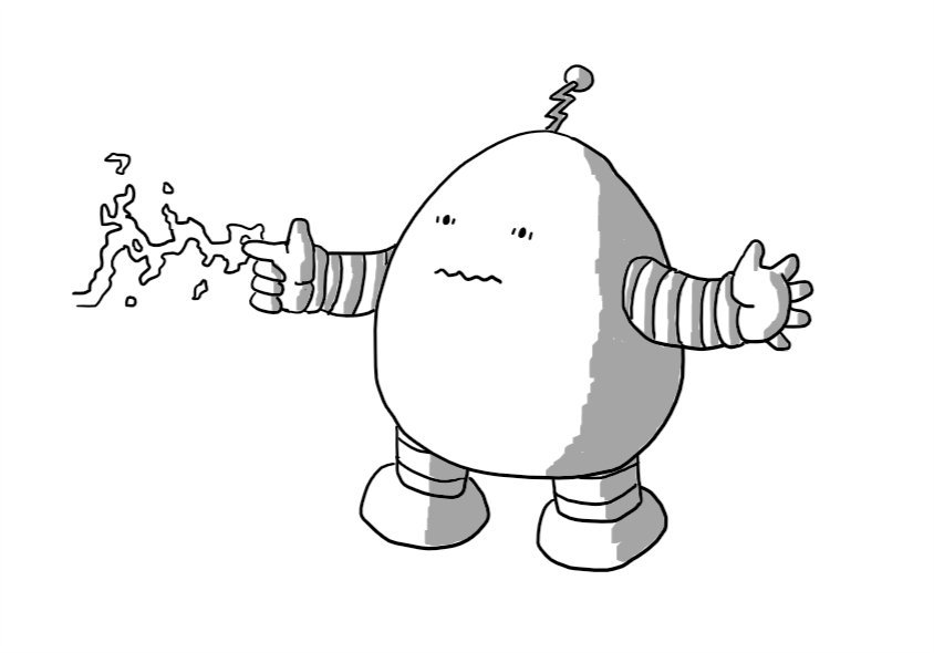 A squat, ovoid robot with short, banded arms and legs. It's pointing with one finger which is attracting a writhing spark of electricity. The robot appears discombobulated, with its mouth making a zig-zag shape and its eyes slightly frantic. It has a zig-zag antenna on its top.
