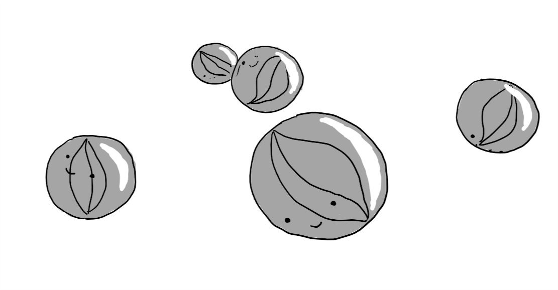 Five robots in the form of children's marbles, complete with swirls on the inside. All are smiling happily, at various angles.