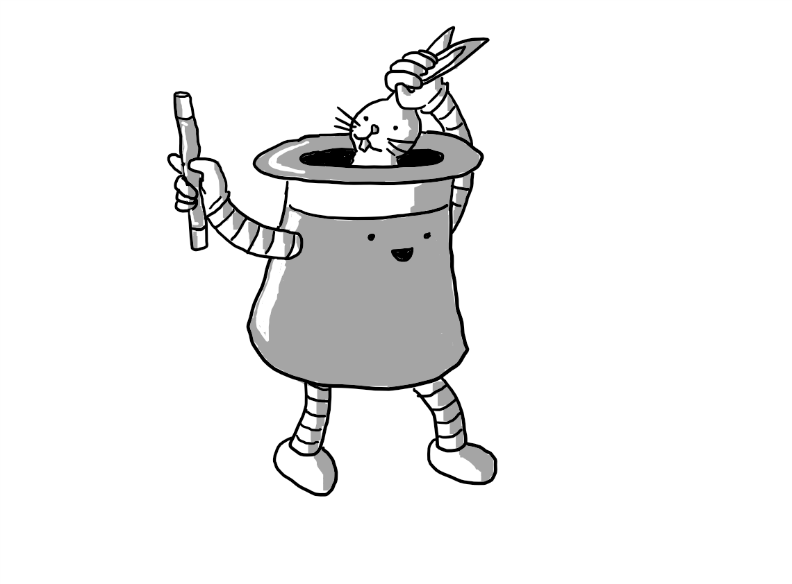 A robot in the form of an upturned top-hat, with banded arms and legs. It is holding a magic wand in one hand and the other is pulling a somewhat bemused-looking rabbit from inside itself by its ears.