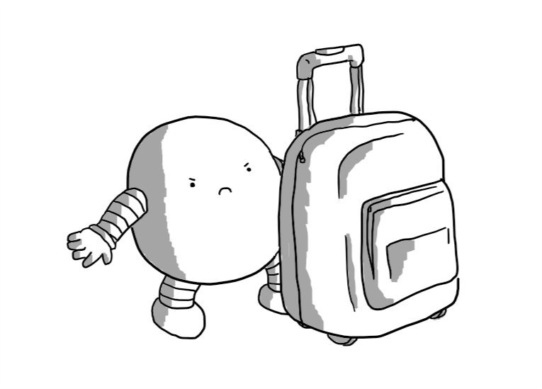 A round robot with banded arms and legs frowning angrily at a small, wheeled suitcase that is slightly larger than itself.