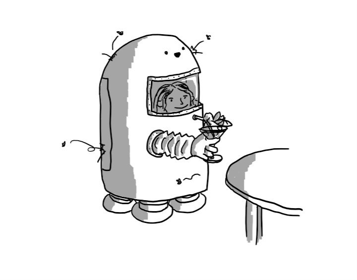 A robot shaped like a rounded cylindrical capsule with four sturdy legs on its base, standing by a circular table. A transparent window near its top shows a person within who is using two flexible arm covers to place the straw of a cocktail into a round access port below the window. Its face is just above the window, smiling cheerfully as a number of insects bounce off its surface.