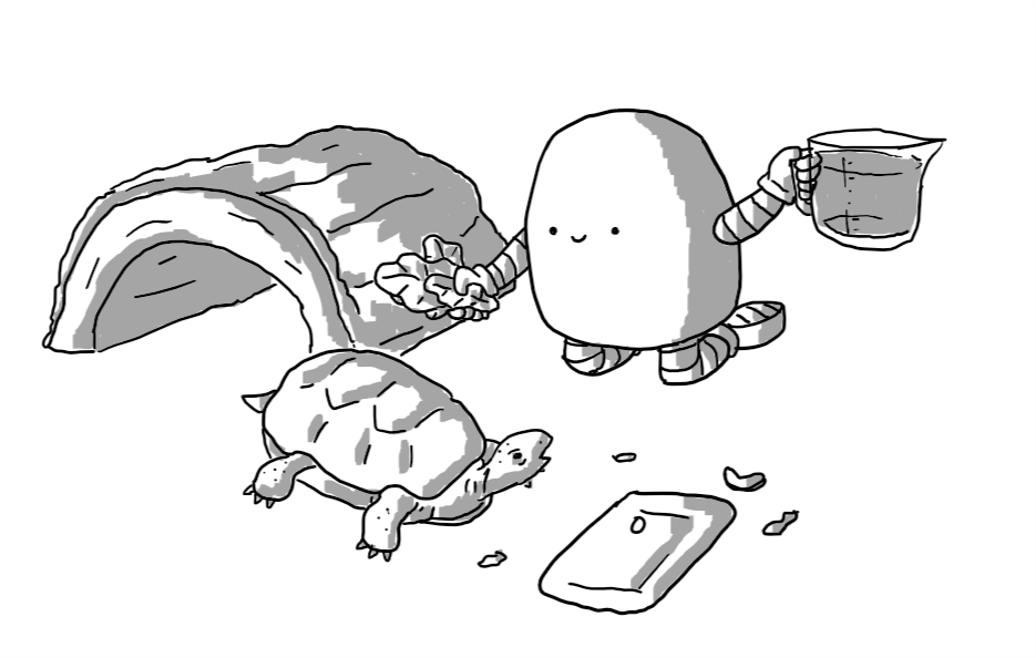 A round-topped robot with banded arms and legs, kneeling with a handful of leaves in one hand and a jug of water in the other. A tortoise is sitting beside him, next to an empty food tray surrounded by fragments of food and a semi-cylinder wooden shelter behind it.