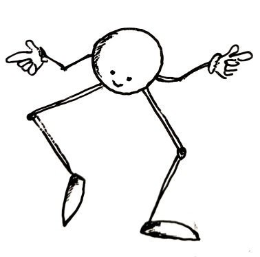 A little ball with gangly arms and legs throws some shapes