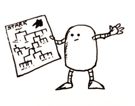 A little robot holds up a family tree with the heading 'Stark'
