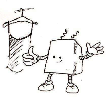 A cuboid robot gives an encouraging smile and a thumbs up in front of an item of clothing on a hanger