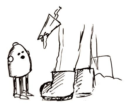 A dome-shaped, roughly knee height robot with 4 legs talks to a pair of legs with a trowel. (We