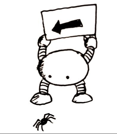 A small round robot holds an arrow sign over its head pointing the way for a spider at its feet to go.