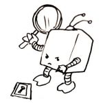 A very determined, almost angry, square robot holds a magnifying glass and points to a key at its feet.