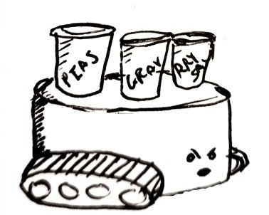A stubby cylinder with tank tracks and a stern look carries pots of mushy peas, gravy and curry sauce