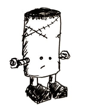 A cylinder with two stubby little legs, hair on top, some scars and, of course, a bolt through it's... Well. Itself.