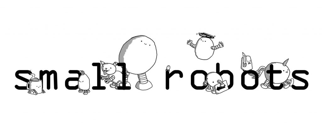 The words small robots with a collection of robots surrounding them.