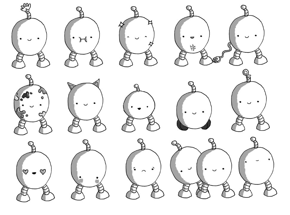 15 robots, arranged 5 by 3. All are ovoid with two banded legs and an antenna. Each has an extra feature. From the top left: a hand on its antenna, full cheeks, is sparkling, toned abs, a USB wire trailing from it, paint splattered, cat ears, much smaller, wheels instead of legs, a female symbol on its antenna, heart eyes, blushing, sad, an extra robot peeking out from behind it, a vacant expression.