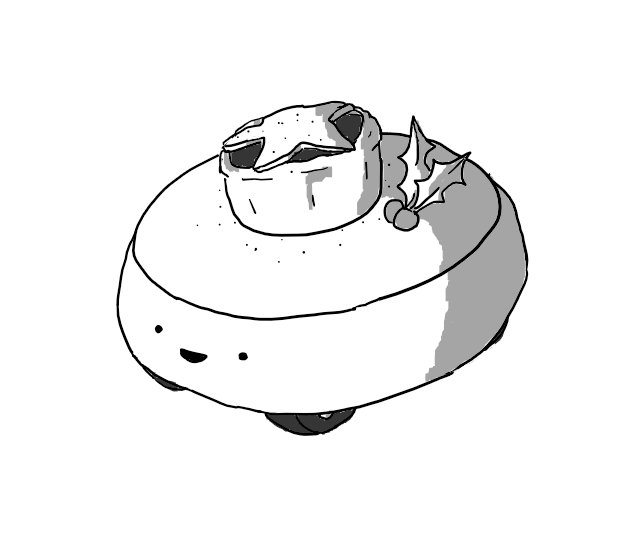 A low, cylindrical robot with a rounded edge and three wheels on its base. Resting on its flat top is a mince pie with a star-shaped lid, powdered with icing sugar and set off with a sprig of holly. The robot's cheerful face beams from the front of its body.