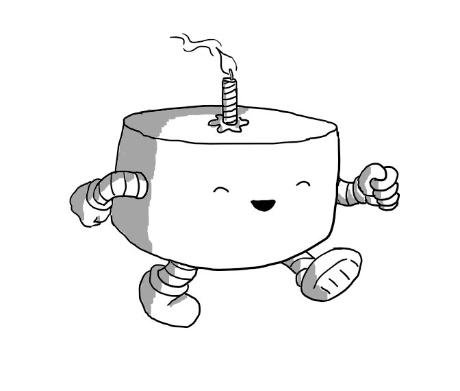 A squat, cylindrical robot with banded arms and legs and a small birthday candle on the top, cheerily strutting to the party.