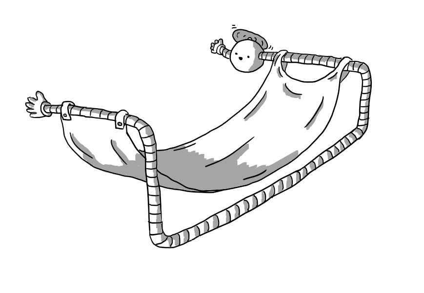 A spherical robot with a propeller on its top and banded arms. One arm is a normal length and waving while the other extends ludicrously directly away from its body, down and along the ground then back up and across again to form a large frame from which a hammock is hung. Its long arm has another little waving hand at the end.