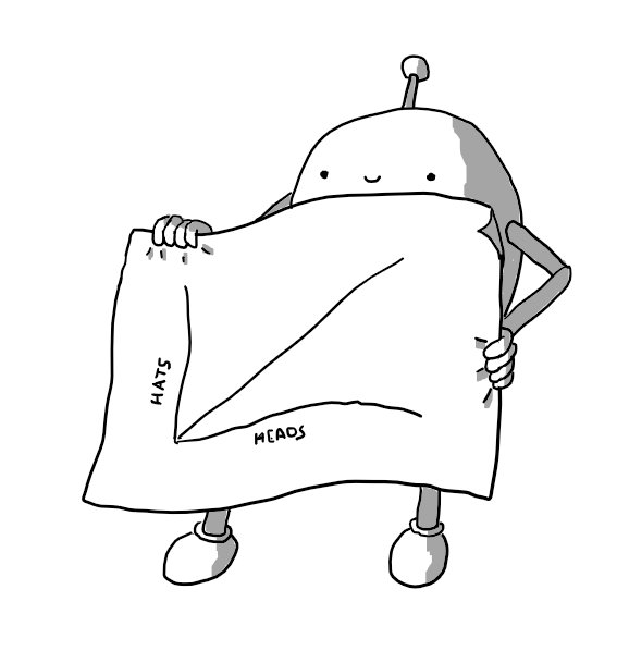An ovoid robot with jointed arms and legs and an antenna holding up a sheet of paper almost as large as itself. On it is sketched a basic line graph with two axes. The x-axis is labelled HEADS and the y-axis is labelled HATS with the trend line rising in a 1:1 ratio.