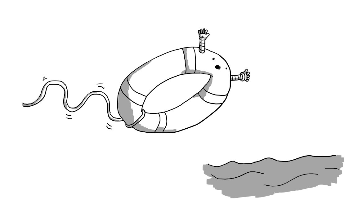 A robot in the form of a lifering/life preserver, with its face on one edge and two little arms outstretched to either side, hurling itself into a stretch of water, an expression of alarm on its face as the rope connecting it to land unspools behind it.