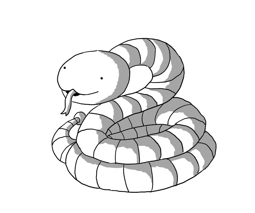 A robot snake. Its head is a smooth ovoid with a curved mouth bisecting its front from which protrudes a long, forked tongue. Its body is one long, banded small robot limb, coiled into a spiral. A small bobble is attached to the tip of its tail, which languishes beside it.