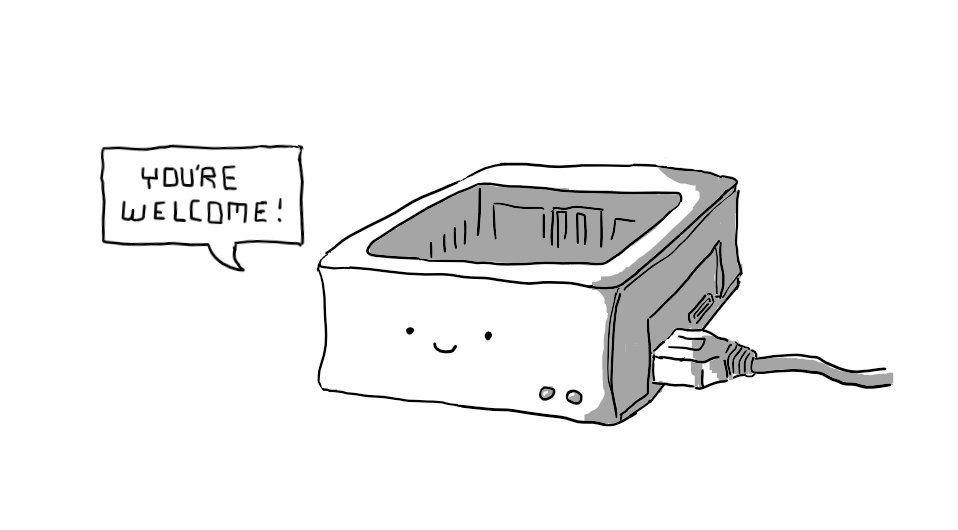 """A Raspberry Pi in a rounded, open-topped case with a USB in one side and a smiling face on the front - based on the actual set-up for the @smolbotbot account. A speech bubble coming from it reads """"YOU'RE WELCOME!"""""""