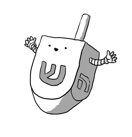 A robot in the form of a traditional Jewish dreidel toy. It has a happy face on the side with the Hebrew ש ('shin') and arms on the adjacent faces. The only other side visible is ה ('hei').