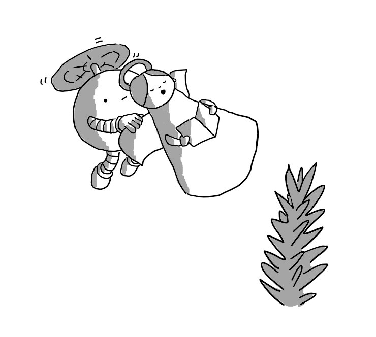 A spherical robot with banded arms and legs, borne aloft by a propeller on its top and holding determinedly onto an angel ornament which it is manoeuvring towards the top of a fir tree.