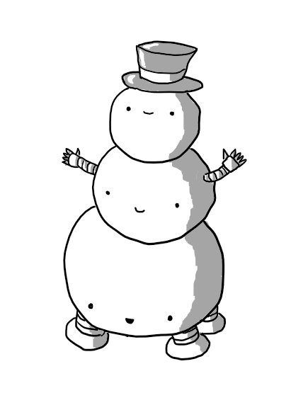 Three smiling spherical robots of decreasing size, piled up like a traditional cartoon snowman. The topmost robot wears a top hat, the middle robot has little banded arms sticking out and the bottom robot has four sturdy legs on its underside. They all have faces but only the top robot's is positioned centrally to create the snowman's face.