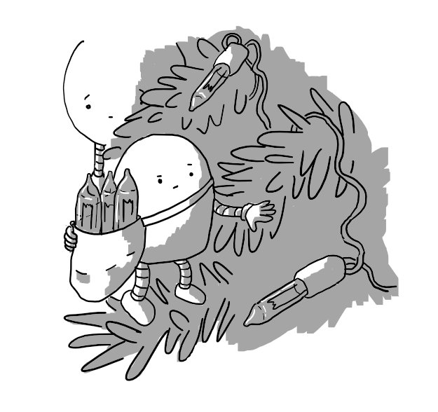 A round-topped robot with banded arms and legs perches in the branches of a Christmas tree, inspecting a dark fairy light bulb on a wire. It has a bag over one shoulder with three spare bulbs poking out of the top. In the background, a Baublebot looks on, concerned.