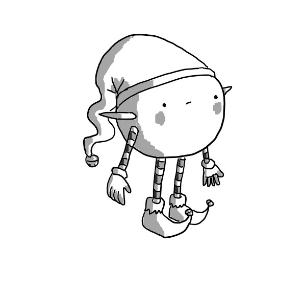 A spherical robot with thin, banded arms and legs. The bands alternate dark and light stripes and it wears curly-toed shoes with bells on the end and a hat with a long drooping top, also sporting a bell. Two pointed ears are stuck on either side of its body and it has rosy cheeks. Its facial expression is best described as ambivalent.