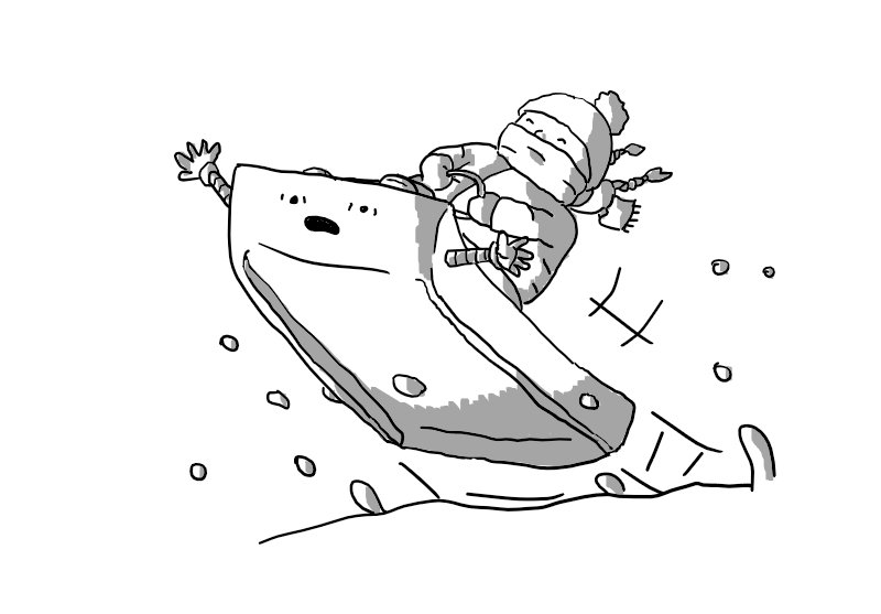A robot in the form of a simple toboggan with two banded arms on either side, flying off a snowy bank and into the air. A smiling child, heavily wrapped in winter clothing, scarf and pigtails flying behind her, rides it. The robot, for its part, looks completely terrified and is flailing its arms wildly.