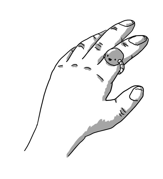 A person's hand that has tiny, smiling spherical robot on the index finger, secured with a segmented band.