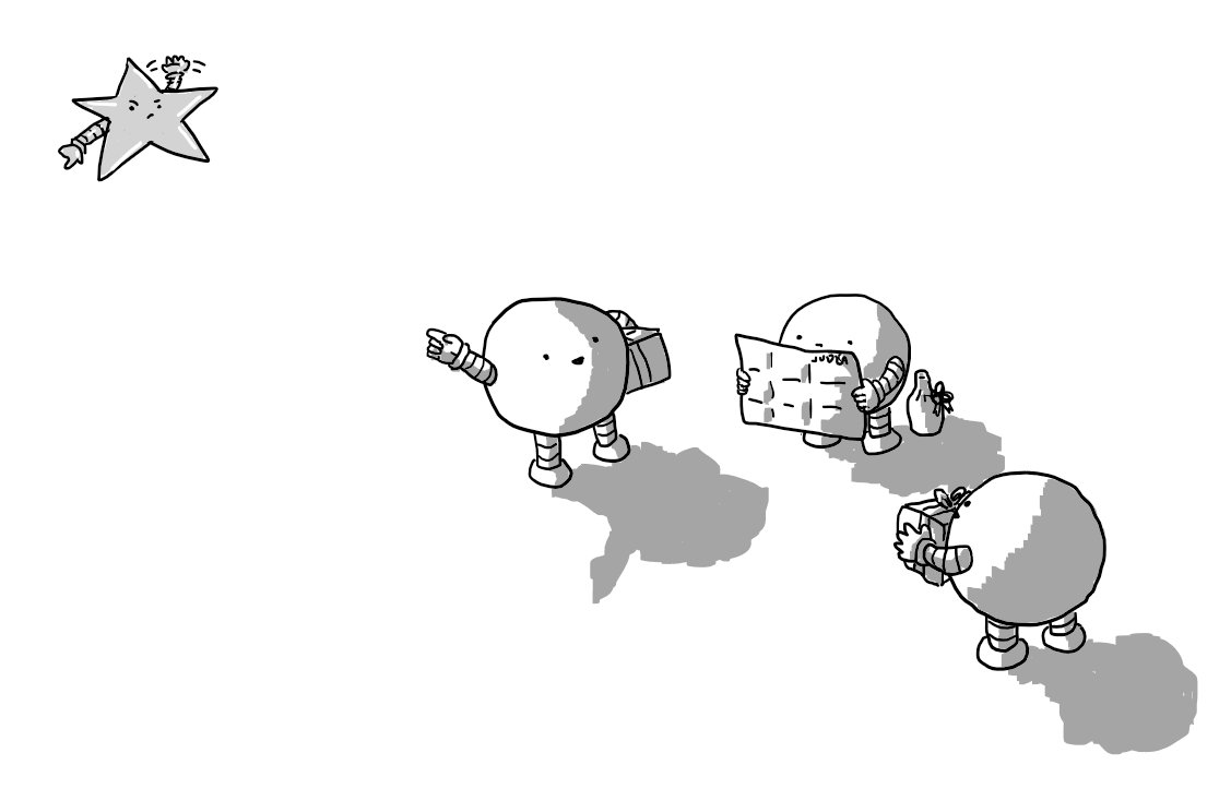 Three spherical robots with wrapped presents stand together. One is peering unhappily at a fold-out map that says 'JUDEA' on it while one of the others is smiling and pointing up to the sky. There, a robot shaped like a five-pointed star is waving and looking annoyed as it points in the direction they need to go.