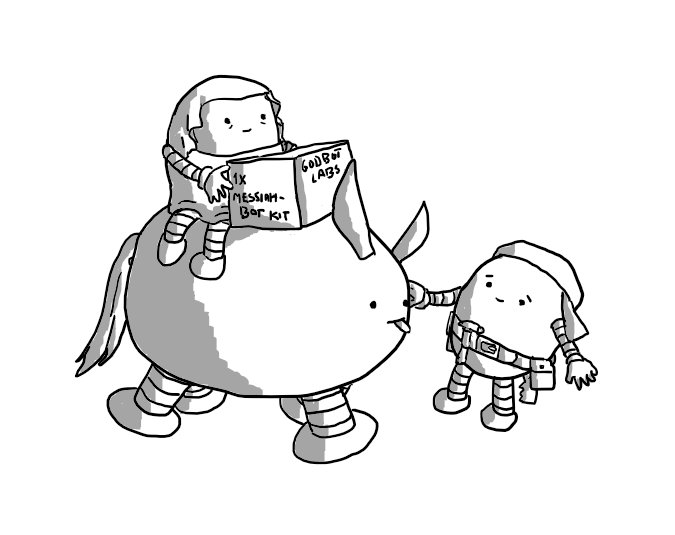 """An ovoid robot with four banded legs, a narrow tail and tall, ear-like protrusions sticks its tongue out. A smaller round robot in a keffiyeh and a carpenter's toolbelt smiles sympathetically at second robot riding on the first, who is wearing a sort of pleated veil and looks tired but happy. Resting in front of this robot is a box that says """"1x MESSIAHBOT KIT"""" on it."""