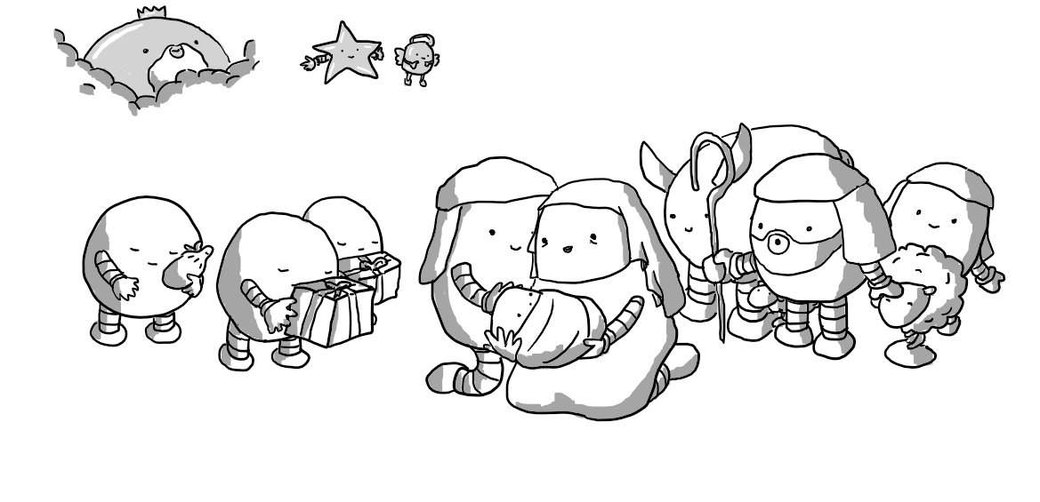 All the Nativitybots together. Marybot and Josephbot are in the middle, tenderly cradling Babyjesusbot who's now wrapped in swaddling clothes. The Shepherdbots and their Sheepbots observe from one side near Donkeybot, while the three Magibots approach reverently with their gifts. Above, Gabrielbot and Starbot smile down at the scene and a crowned and bearded Bigbot peers through the clouds.