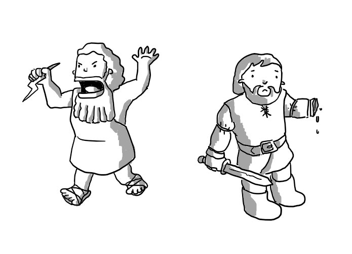 Zeus and Tyr. Zeus is angrily wielding a thunderbolt, Tyr is looking forlornly at his severed hand.