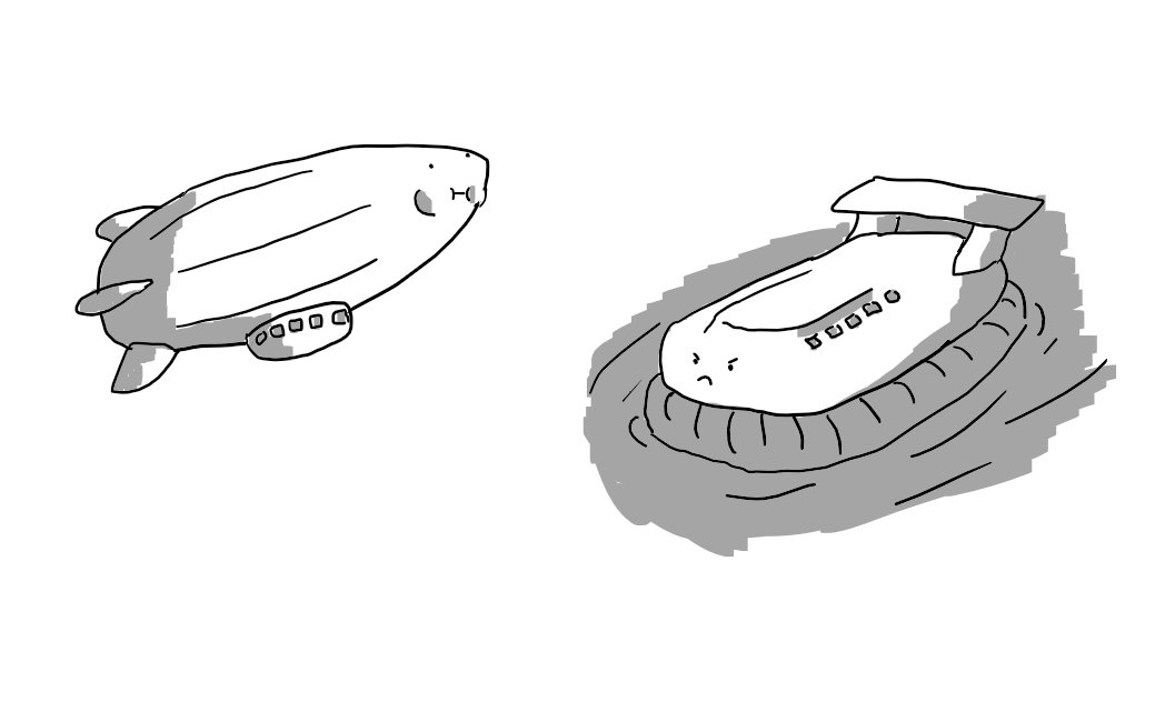 An airship and a hovercraft. The airship is holding its breath, the hovercraft is angrily surging through the water.