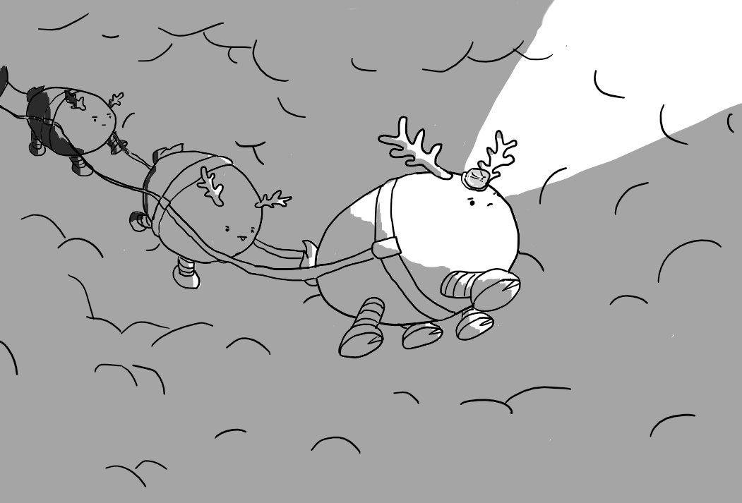 Three ovoid robots with four banded legs and reindeer antlers fly through dense fog, connected by tracers that lead back to the dim form of another robot. The lead robot has a little light on its head which is projecting an intense beam, illuminating the roiling fog ahead. All the robots look very determined.