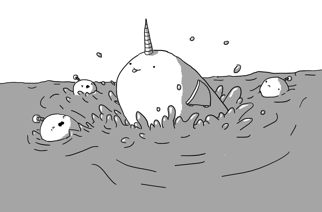 An ovoid robot with hinged flippers on its sides and a banded horn on its head bursts through the surface of the sea, surprising three Bobbots, who reel backwards with expressions of shock, fear and dismay. For its part, Narwhalbot seems perfectly happy, sticking out its tounge.