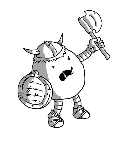 An ovoid robot with banded arms and legs wearing a horned helmet, carrying a battered shield and angrily waving a notched axe. Its feet are wrapped in cloth with crude leather straps and it sports a pair of vicious tusks.